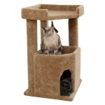 2 Story Carpeted Corner Cat Tree and Condo