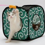 Foldable Cat Cube with Velcro and Small Openings